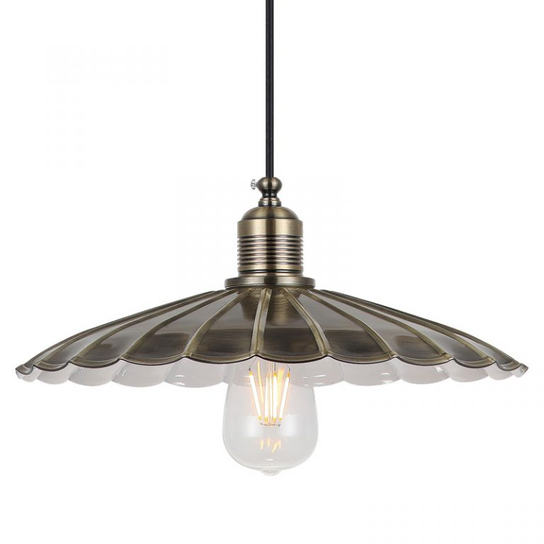 MD8022L-ABE Art-Deco clam shell shade - pendant light