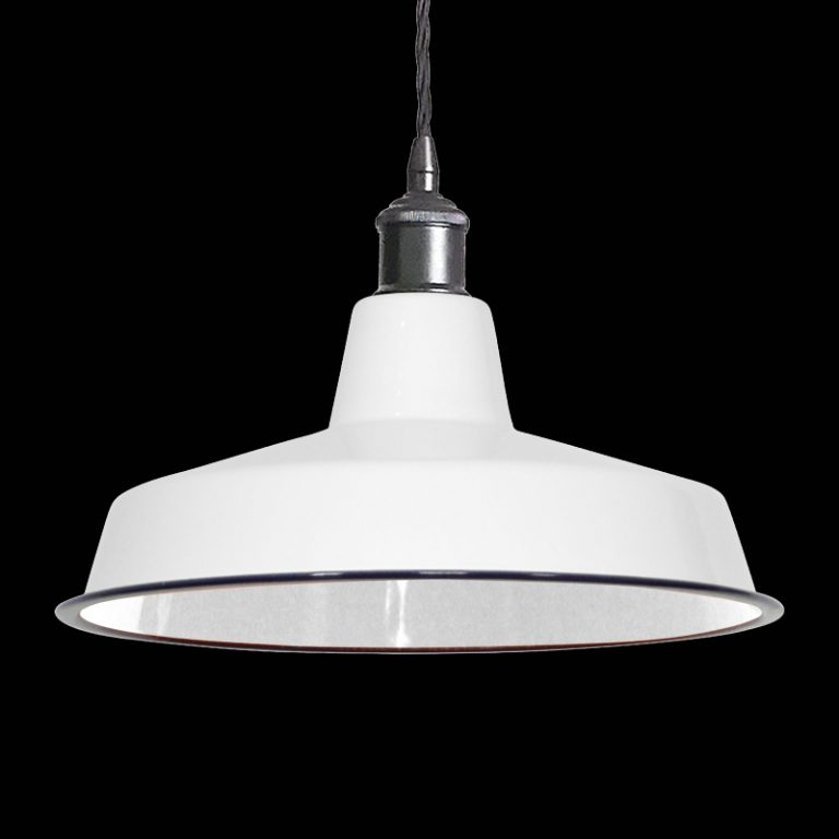 MD6170-360WH White vintage industrial metal spun pendant light