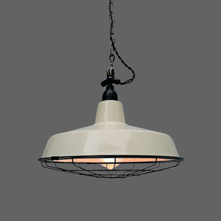 MD6171-WH Ivory painted vintage retro barn light with grill