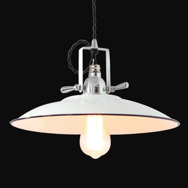 MD6177-WH French mid century vintage white plate style pendant light